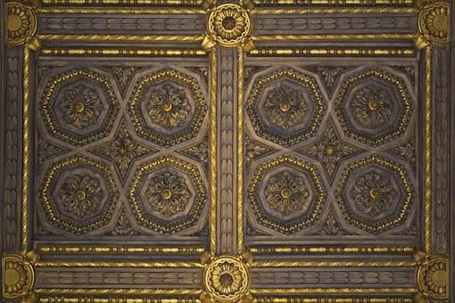 Ceiling, Decoration, Paneling, Detail, Architecture