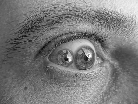 Eyes, Double View, Black And White, Gray Level, Picture