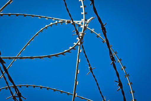 Barbed Wire, Fence, Metal, Wire, Sky, Barrier, Refugees