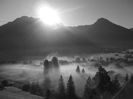 Alpine, Mountains, Fog, Oberstdorf, Allgäu, Foghorn