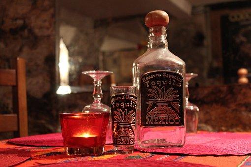 Tequila Bottle, Glass, Tequila, Bottle, Liquor
