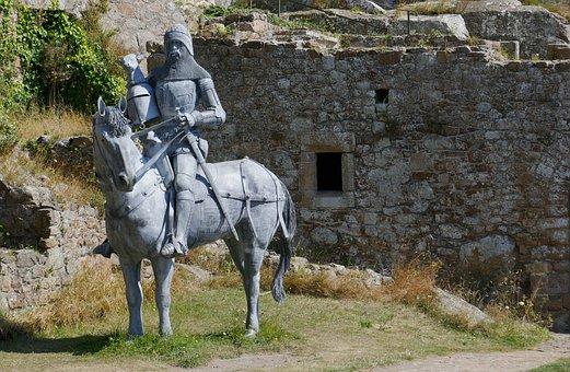 Jersey, Castle, Orgueil, Knight, Horse, Reiter, Fig