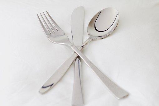 Spoon, Fork, Knife, Cutlery, Metal, Gloss
