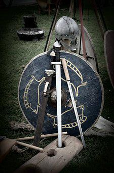 Sword, Shield, Knight, Coat Of Arms, Helm, Middle Ages