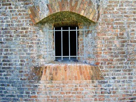 Wall, Bricks, Military Fort, Barred Window, Brick Wall