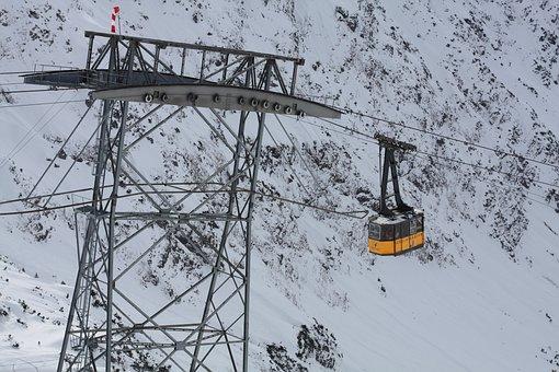 Cable Car, Gondola, Snow, Oberstdorf, Foghorn, Winter