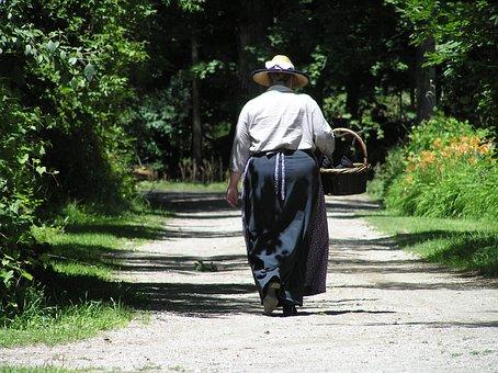 Pioneer, Walking, Path, Outdoors, Woman