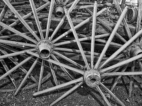 Wagon Wheels, Spokes, Vintage, Aged, Pioneer, Cartwheel