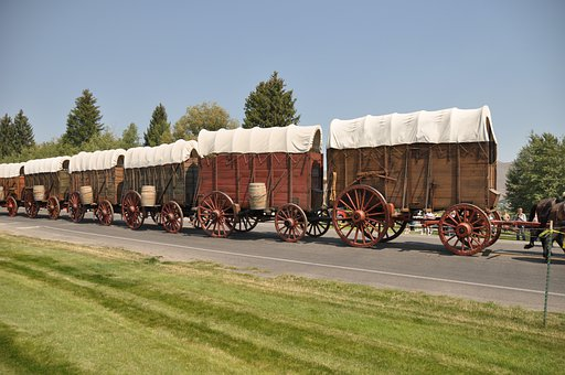 Waggons, Cowboys, Western, Pioneers, Wild West, Convoy