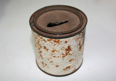 Money Box, Tin, Rusty, Poor, Poverty, Broken, Old, Cash
