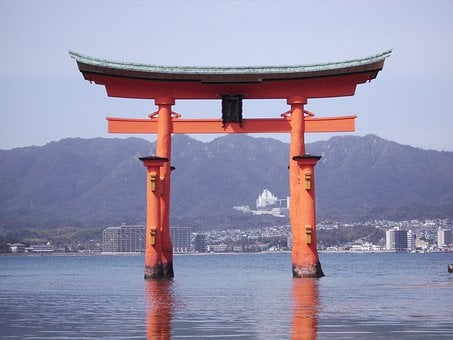 Japan, Miyajima, Island, Torii, Red, Landscape, Shrine