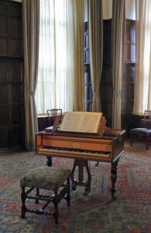 Piano, Old, Vintage, Stool, Sheet Music, High Windows