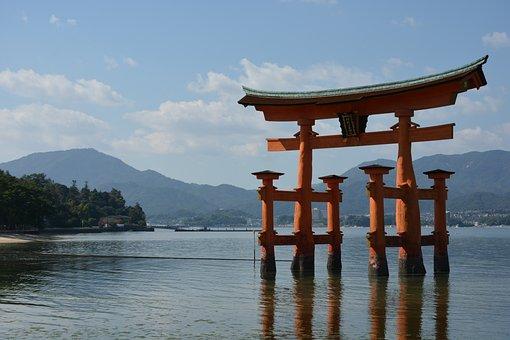 Shrine, Torii, Sea, Japan Sankei