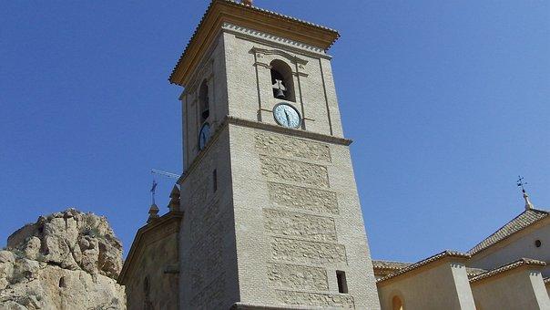 Castle Alhama, De Murcia, Spain, Bell Tower, Church