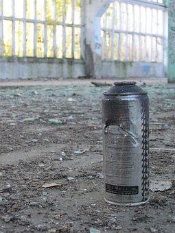 Spray Can, Graffiti, Shard, Dirt, Debris, Window