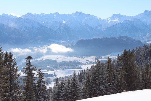 Wintry, Allgäu, Ski Area, Fog Items, Sun, Foghorn, Sky