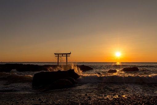 Sea, Sunrise, Wave, Morning, Ocean, Torii, Orange, Sky