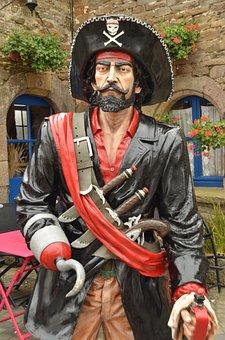 Pirate, Captain, Hook, Sword, Knife, Hat, Image, Statue