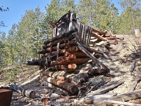 Chute, Okanagon, Mining, Logs, Forest, Tailings