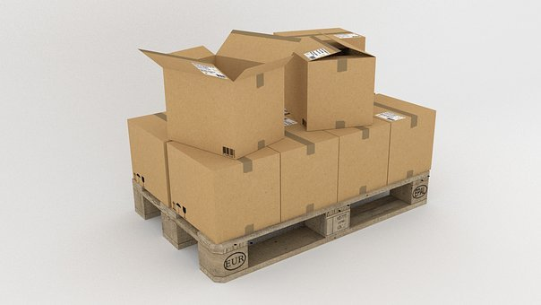 Pallet, Goods, Freighter, Transport, Wood, Boxes