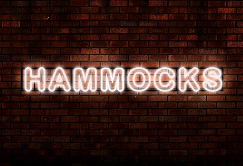 Hammocks, Neon Lights, Word, Typography, Glow, Glowing