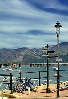 Barmouth, Harbour, Boats, Wales, Water, Clouds