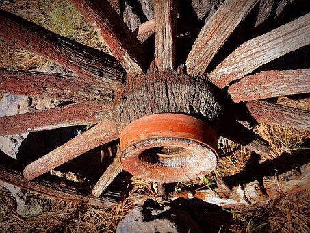 Wagon Wheel, Antique, Western, Old, Wheel, Wagon