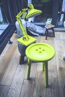 Yellow, Lamp, Table, Stool, Design, Interior
