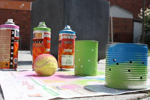 Youth Work, Spray Can, Tennis Ball, Color, Box, Tin Can