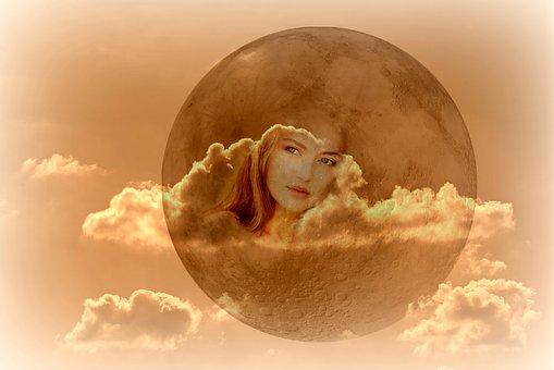 Face, Woman, Clouds, Skies, Moon, Fantasy, Beautiful