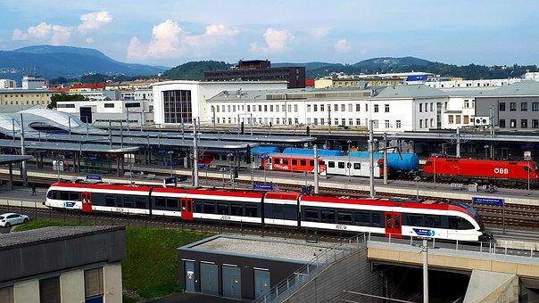 Railway Station, Trains, Stop, Architecture, Building