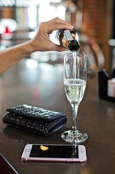 Champagne, White Wine, Pouring, Glass, Bar, Celebration
