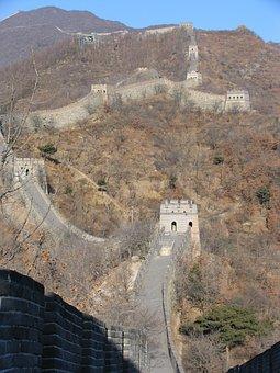 China, Great Wall, Mountain, Autumn, Landmark