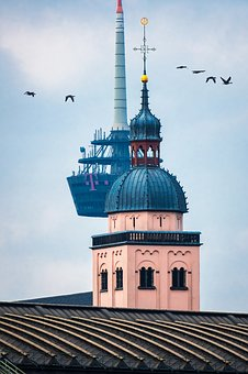 Church, Tv Tower, Contrast, Places Of Interest