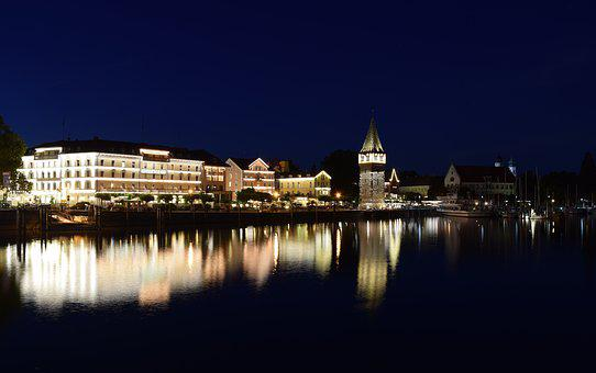 Lake Constance, Lindau, City, Night Photograph, Water