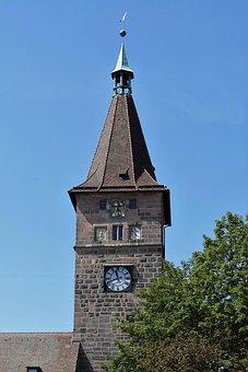 Tower, City Wall Tower, Nuremberg, Clock