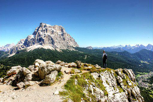 Wanderer, Dolomites, Italy, Nature, Hiking, Mountains