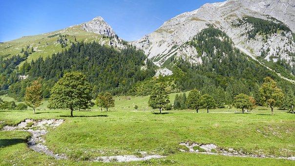 Eng, Ahornboden, Nature, Sky, Landscape, Engalm