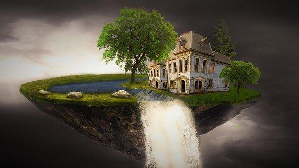 Fantasy, Home, Island, Sunny, Dreams, Forest, Sky
