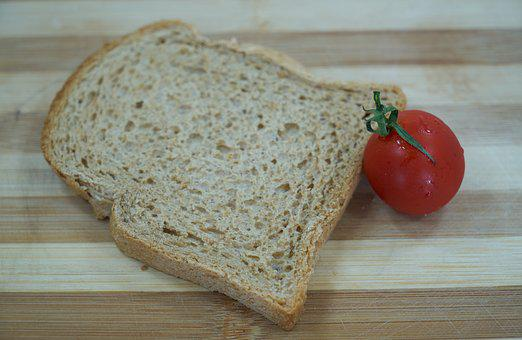 Bread, Table, Wood-fibre Boards, Tomato, Red, Food