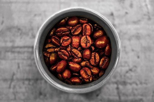 Coffee Cup, Coffee Beans, Wooden Table, From Above