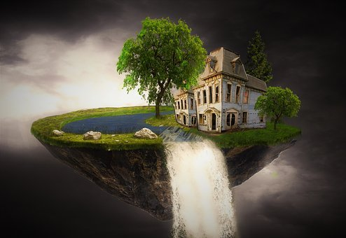 Fantasy, Home, Island, House, Forest, Sky, Clouds