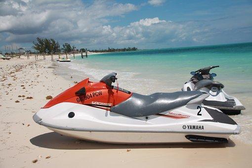 Beach, Ocean, Island, Jet Ski