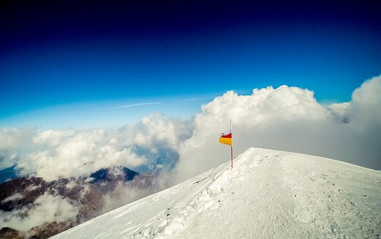 Sky, Clouds, Flag, Landscape, Mountains, Weather