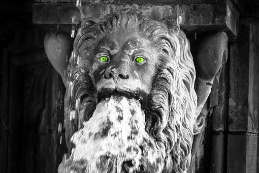 Lion, Lion Head, Gargoyle, Fountain, Threatening, Wild