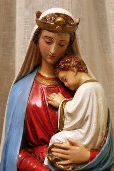 Religion, Virgin Mary, Madonna, Baby Jesus, Statue