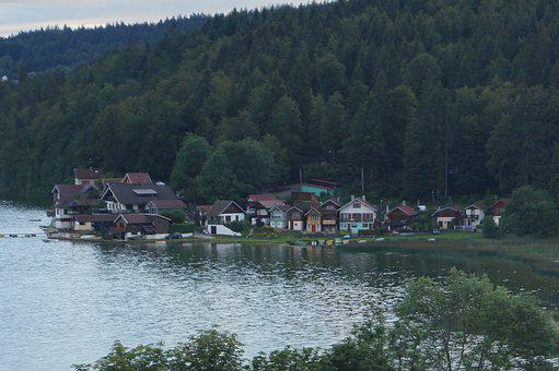 Village, Lake, Nature, Landscape, Water, Mountain, Tree