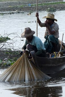 Fisherman, Myanmar, Burma, Fishing, Lake, Rowing