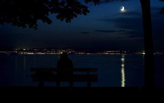 Night, Lake Constance, Moon, Lindau, Germany