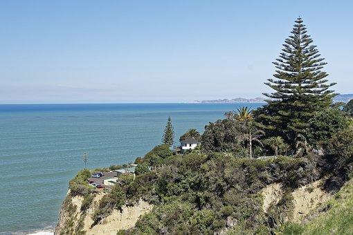 New Zealand, Napier, Bluff Hill Lookout, Rocky Coast
